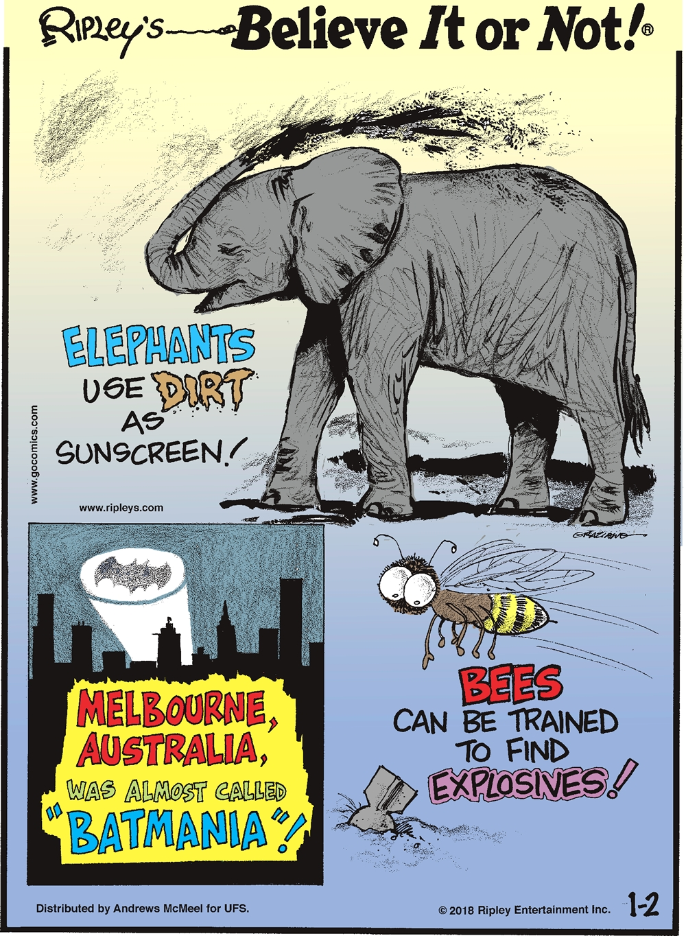 "Elephants use dirt as sunscreen!-------------------- Melbourne, Australia, was almost called ""Batmania""!-------------------- Bees can be trained to find explosives!"