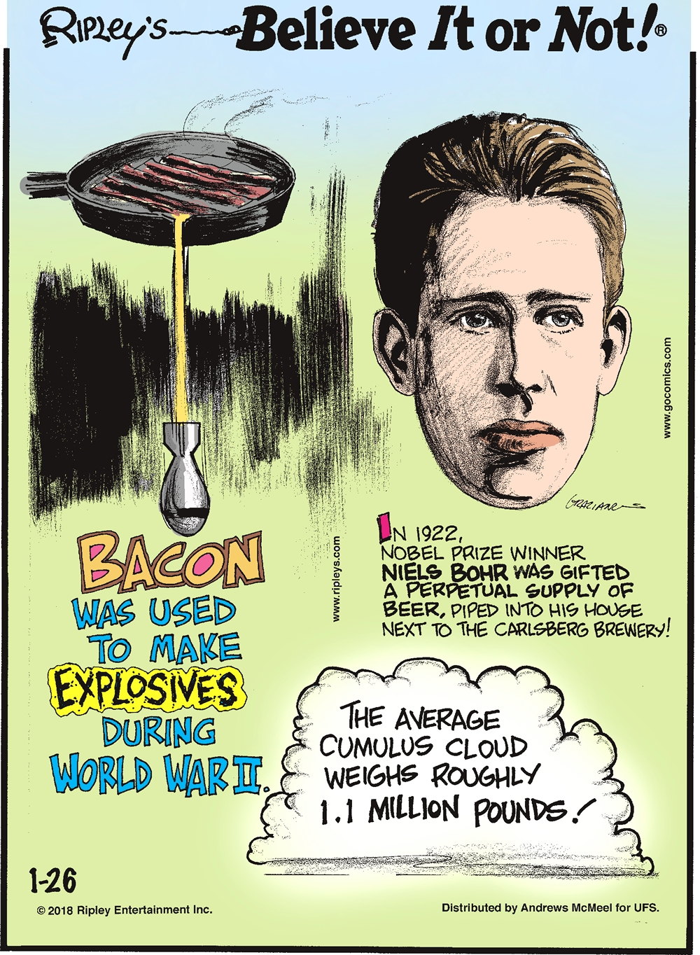 Bacon was used to make explosives during World War II.-------------------- In 1922, Nobel Prize Winner Niels Bohr was gifted a perpetual supply of beer, piped into his house next to the Carlsberg Brewery!-------------------- The average cumulus cloud weighs roughly 1.1 million pounds!