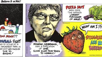 A snowball fight scheduled to occur at a Georgia Amusement Park in December 2017 was canceled due to snow!-------------------- Monowi, Nebraska has a population of one. Elsie Eiler pays taxes to herself!-------------------- Pizza Hut was once the nation's largest purchaser of kale!-------------------- Strawberries are not berries!