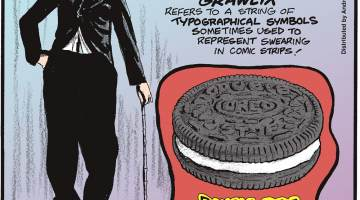 """""""Grawlix"""" refers to a string of typographical symbols sometimes used to represent swearing in comic strips!-------------------- Charlie Chaplin's birthplace and real name remain unknown. Submitted by Nate Westbury, Minneapolis, MN.-------------------- Double Stuf Oreos only have 1.86 times the creme of a regular Oreo!"""