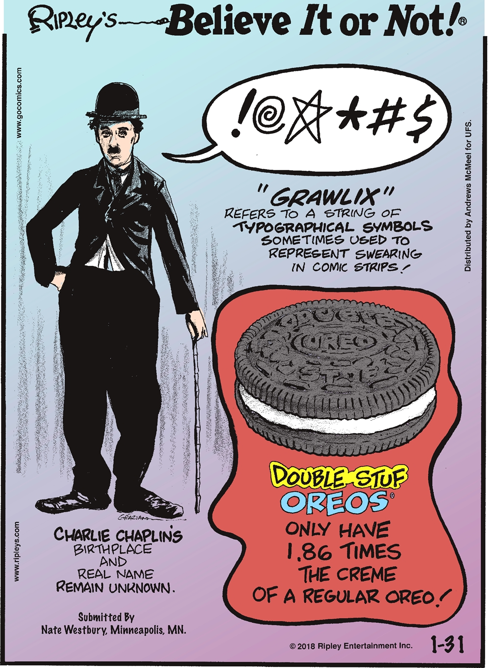 """Grawlix"" refers to a string of typographical symbols sometimes used to represent swearing in comic strips!-------------------- Charlie Chaplin's birthplace and real name remain unknown. Submitted by Nate Westbury, Minneapolis, MN.-------------------- Double Stuf Oreos only have 1.86 times the creme of a regular Oreo!"