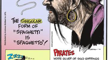 """The singular form of """"spaghetti"""" is """"spaghetto""""!-------------------- Pirates wore silver or gold earrings to cover funeral expenses in the event of an untimely death!-------------------- In November 2017, an opossum broke into a Florida liquor store and drank an entire bottle of bourbon! Submitted by Richard Gibson, Lafayette, LA."""