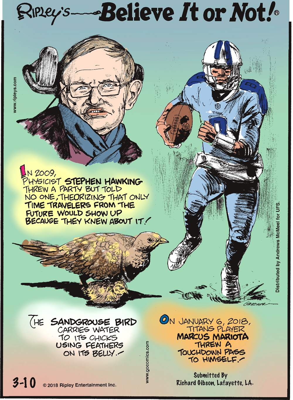 In 2009, physicist Stephen Hawking threw a party but told no one, theorizing that only time travelers from the future would show up because they knew about it!-------------------- The sandgrouse bird carries water to its chicks using feathers on its belly!-------------------- On January 6, 2018, Titans player Marcus Mariota threw a touchdown pass to himself! Submitted by Richard Gibson, Lafayette, LA.