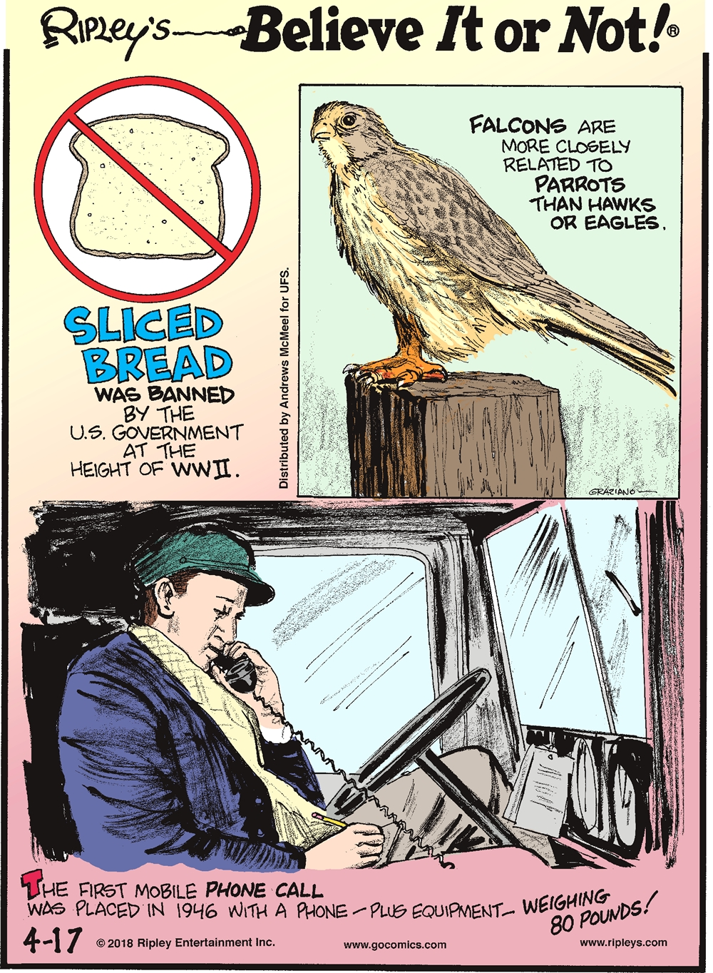 Sliced bread was banned by the U.S. Government at the height of WWII.-------------------- Falcons are more closely related to parrots than hawks or eagles.-------------------- The first mobile phone call was placed in 1946 with a phone -plus equipment- weighing 80 pounds!