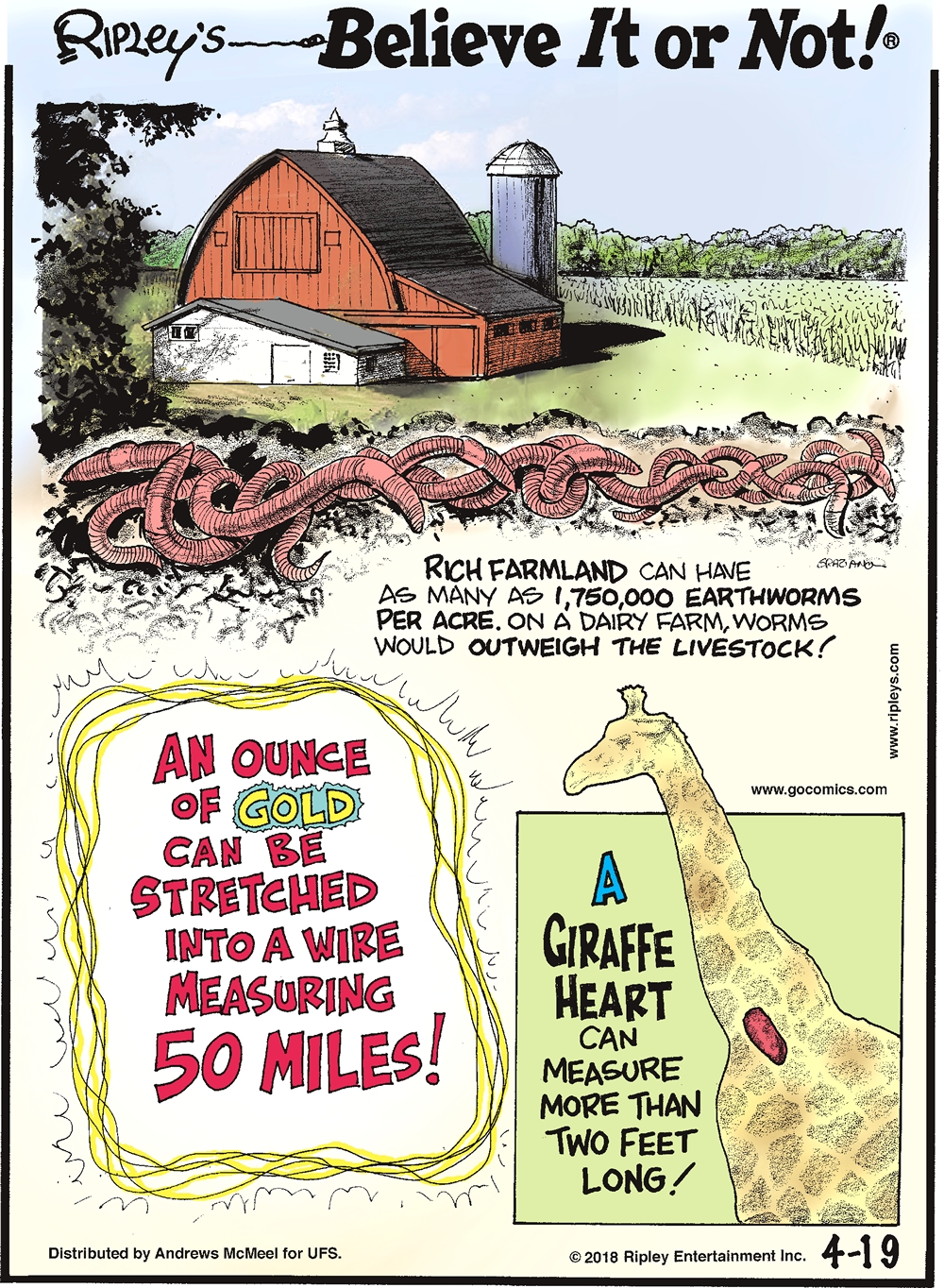 Rich farmland can have as many as 1,750,000 earthworms per acre. On a dairy farm, worms would outweigh the livestock!-------------------- An ounce of gold can be stretched into a wire measuring 50 miles!-------------------- A giraffe heart can measure more than two feet long!