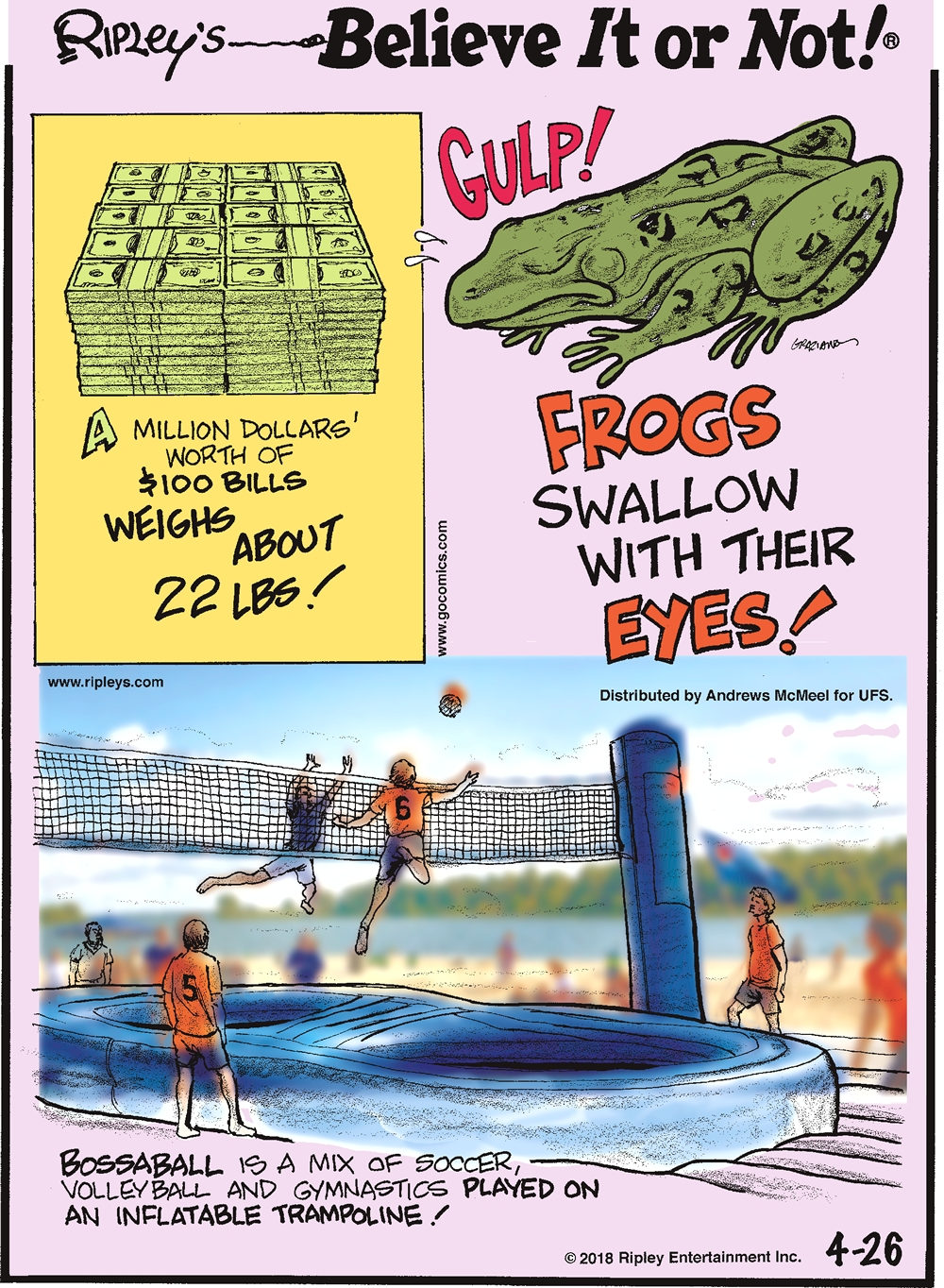 A million dollars' worth of $100 bills weighs about 22 lbs!-------------------- Frogs swallow with their eyes!-------------------- Bossaball is a mix of soccer, volleyball, and gymnastics played on an inflatable trampoline!