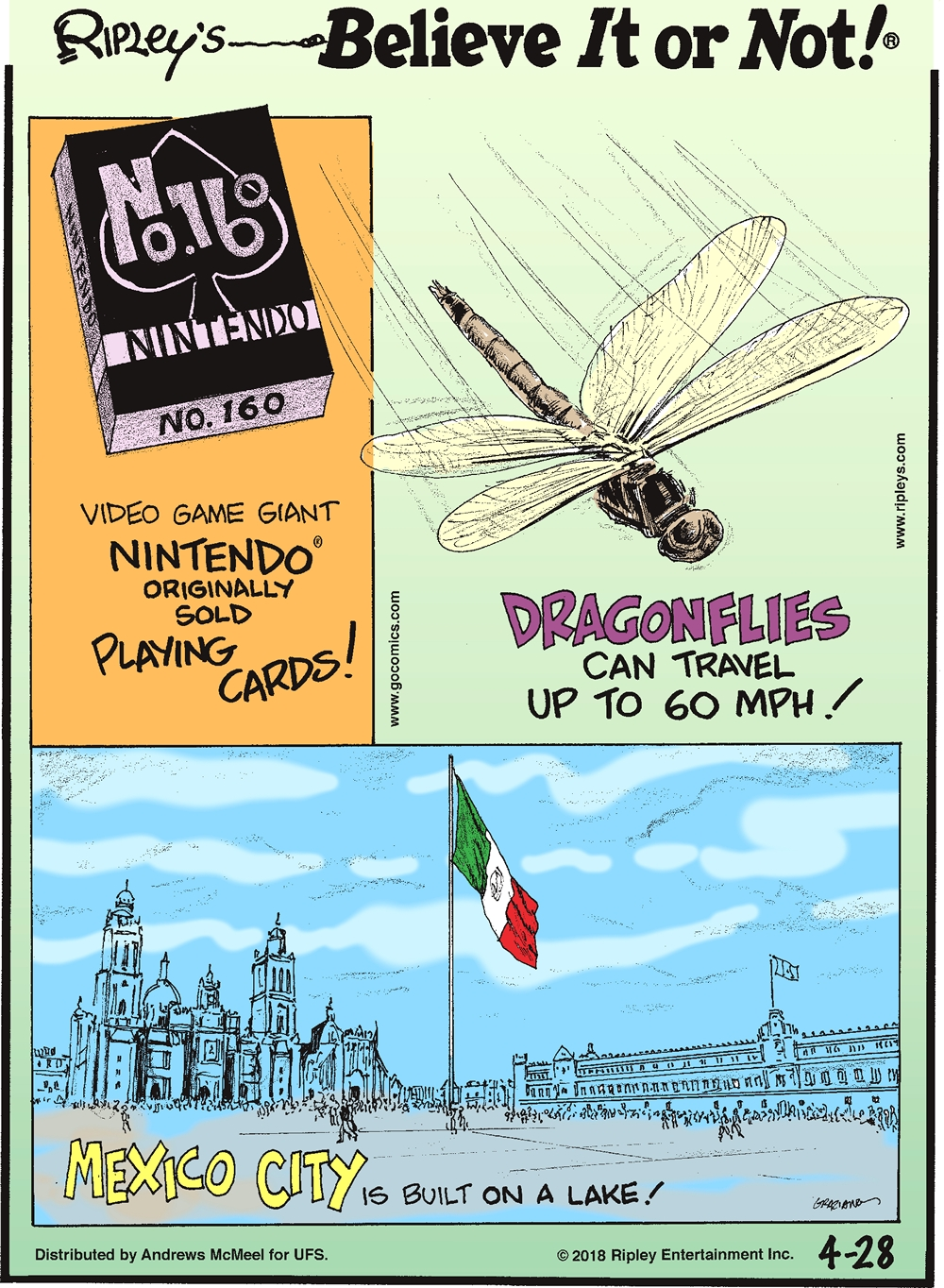 Video game giant Nintendo originally sold playing cards!-------------------- Dragonflies can travel up to 60 mph!-------------------- Mexico City is built on a lake!