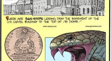 """There are 365 steps leading from the basement of the U.S. Capitol Building to the top of its dome!---------------------- The Fugio Cent - one of the first official coins minted in the United States - was inscribed with """"mind your business.""""-------------------- With just one bite, the king cobra snake releases enough venom to kill 20 people!"""