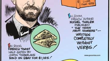 """In 2000, french toast half-eaten by Justin Timberlake sold on eBay for $1,025!--------------------In 2004, French author Michel Thaler published """"The Train From Nowhere"""" - written completely without verbs!--------------------Fish can cough!"""