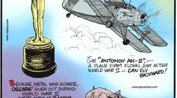 """Because metal was scarce, Oscars given out during World War II were made of plaster.-------------------- The """"Antono AN-2."""" - a plane first flown just after World War II - can fly backward!-------------------- Female mosquitoes can drink up to three times their body weight in blood during a single feed!"""