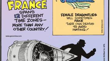 France spans 12 different time zones - more than any other country!-------------------- Female dragonflies will sometimes fake their own deaths to avoid mating!-------------------- In one night, the CIA stole and returned a Soviet spacecraft without raising suspicion!