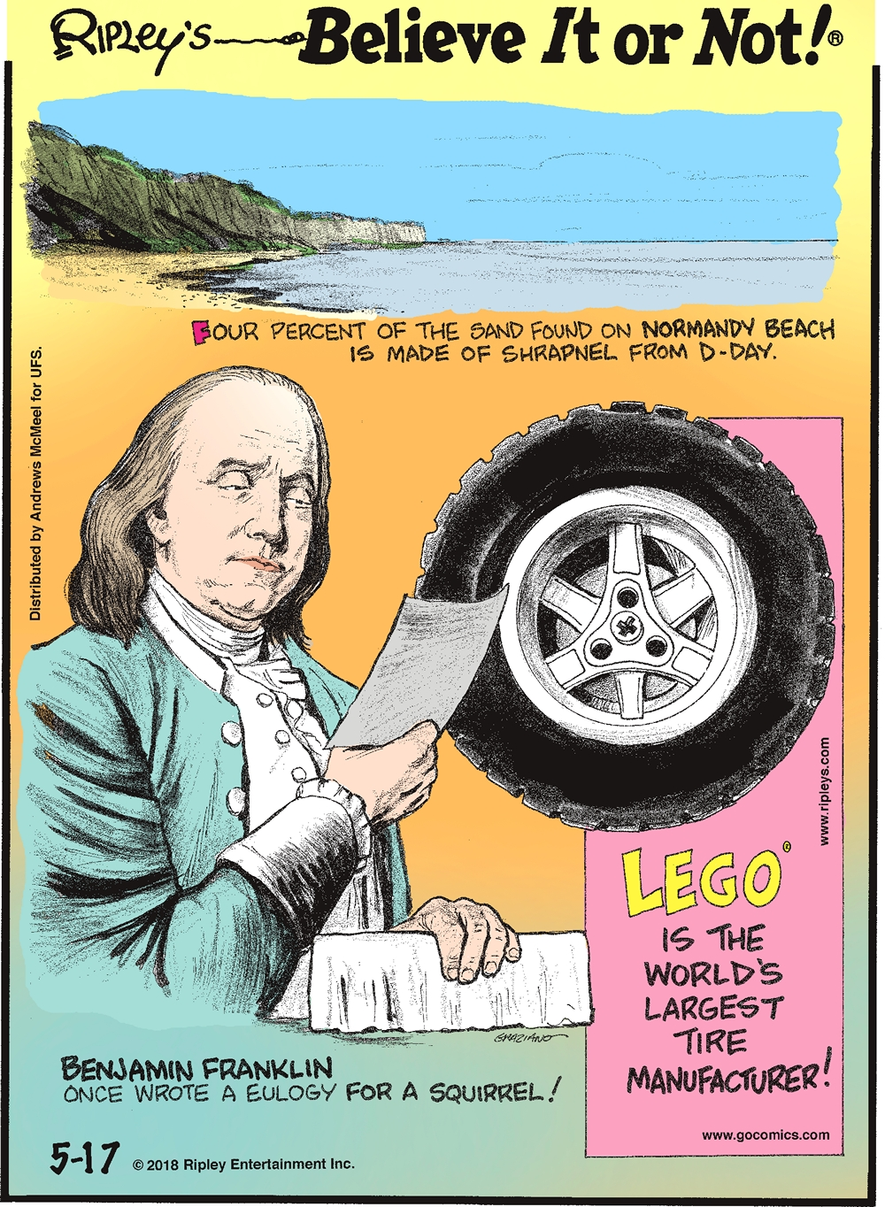 Four percent of the sand found on Normandy Beach is made of shrapnel from D-Day.-------------------- Benjamin Franklin once wrote a eulogy for a squirrel!-------------------- LEGO is the world's largest tire manufacturer!