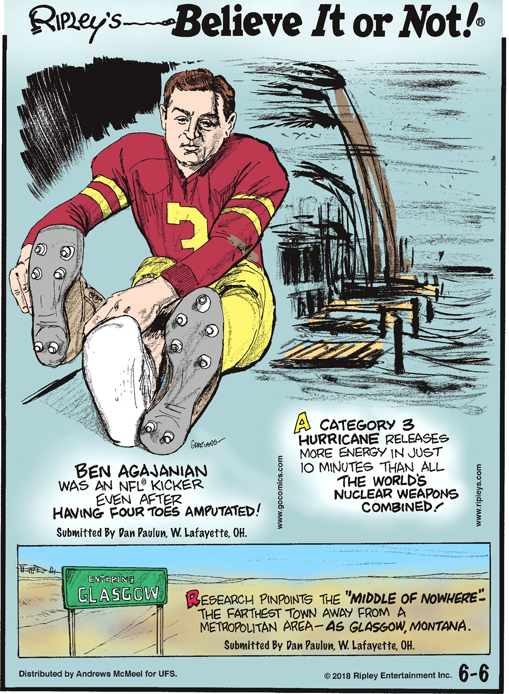 "Ben Agajanian was an NFL kicker even after having four toes amputated! Submitted by Dan Paulun, W. Lafayette, OH.-------------------- A category 3 hurricane releases more energy in just 10 minutes than all the world's nuclear weapons combined!-------------------- Research pinpoints the ""middle of nowhere"" - the farthest town away from a metropolitan area - as Glasgow, Montana. Submitted by Dan Paulun, W. Lafayette, OH."