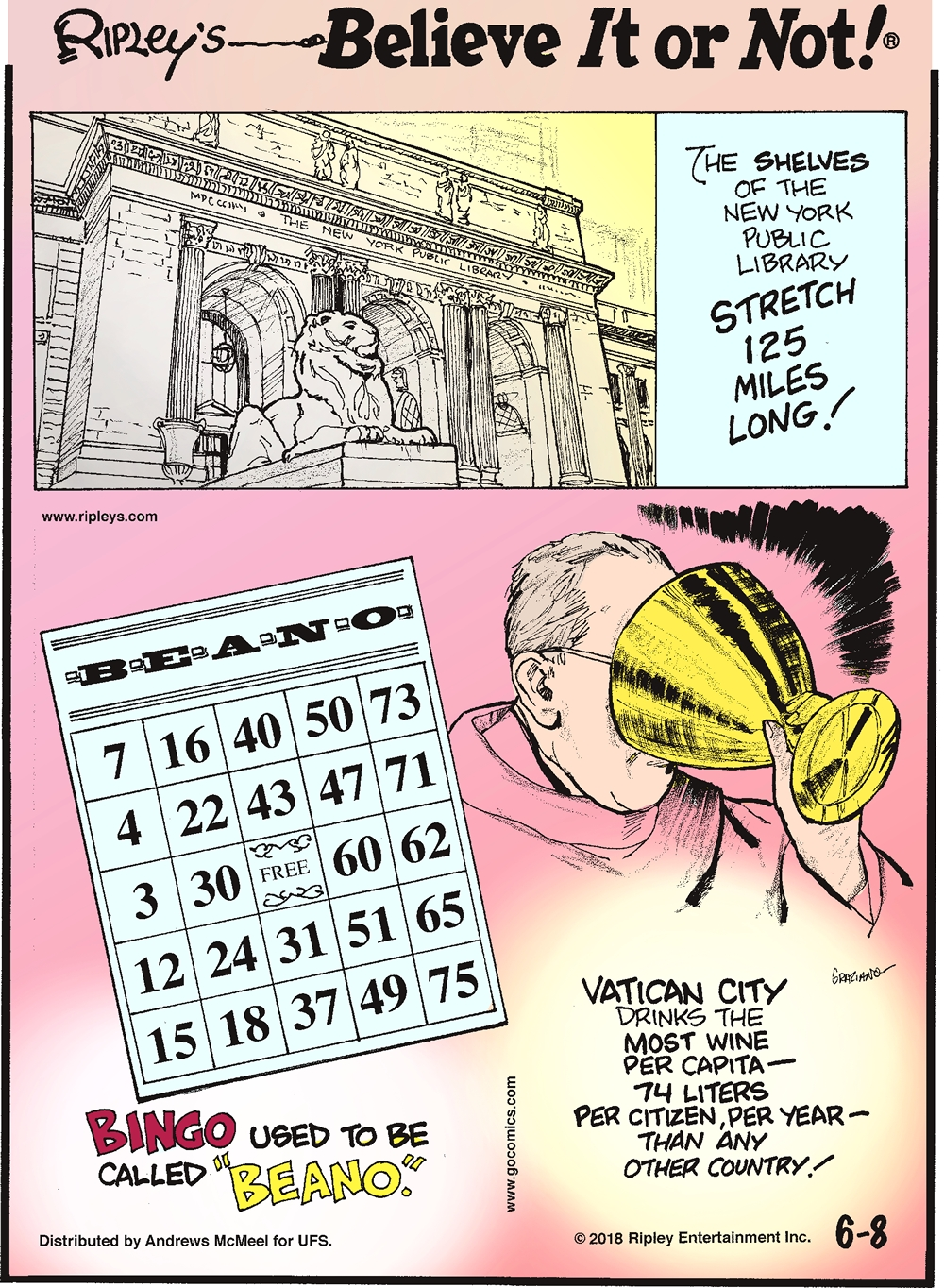 """The shelves of the New York Public Library stretch 125 miles long!--------------------- Bingo used to be called """"Beano.""""-------------------- Vatican City drinks the most wine per capita - 74 liters per citizen, per year - than any other country!"""