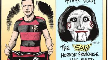 """Video game """"Grand Theft Auto V"""" has made more money than any movie ever!--------------------- Mauricio Dos Anjos, a fan of Brazilian Soccer Club Flamengo, had his entire upper body tattooed to mimic the team's jersey!-------------------- The """"Saw"""" horror franchise has saved 360,000 lives thanks to blood donation campaigns!"""