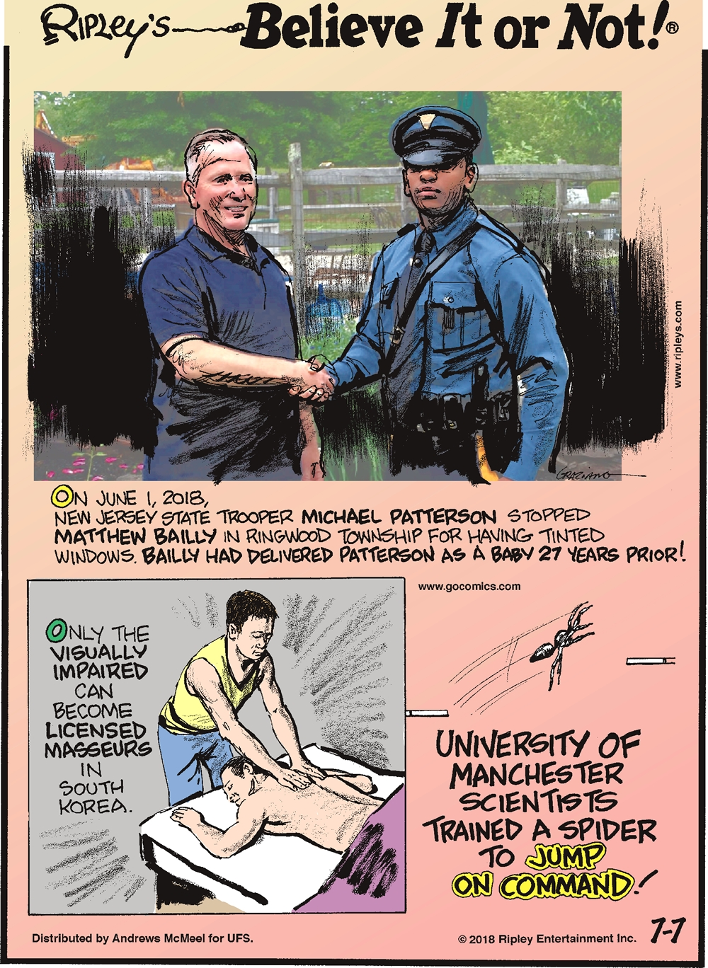 On June 1, 2018, New Jersey state trooper Michael Patterson stopped Matthew Bailly in Ringwood Township for having tinted windows. Bailly had delivered Patterson as a baby 27 years prior!-------------------- Only the visually impaired can become licensed masseurs in South Korea.-------------------- University of Manchester scientists trained a spider to jump on command!