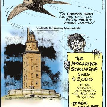 The common swift can stay in the air for 10 months without landing! Submitted by Nate Westbury, Minneapolis, MN.-------------------- The world's oldest existing lighthouse is Spain's Tower of Hercules, erected in the first century and still operational!---------------------- The Apocalypse Scholarship gives $2,000 to the student who writes the best plan to survive a zombie apocalypse.