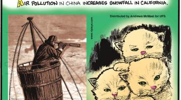 "Air pollution in China increases snowfall in California.-------------------- The ""crow's nest"" on a ship - the basket near the top of the mast - used to actually contain a crow!-------------------- A group of kittens is called a ""kindle""!"