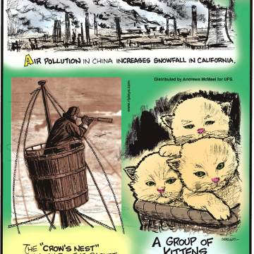"""Air pollution in China increases snowfall in California.-------------------- The """"crow's nest"""" on a ship - the basket near the top of the mast - used to actually contain a crow!-------------------- A group of kittens is called a """"kindle""""!"""