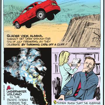 1. Glacier View, Alaska doesn't get dark enough for 4th of July fireworks, so they celebrate by throwing cars off a cliff! 2. An underwater volcano in the Pacific Ocean contains the hottest lava ever measured - 2,444 F! 3. Studies show that the average woman gets bored of shopping after around two hours, but that men last just 26 minutes.
