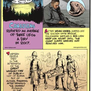 1. Canadians reported an average of three UFOs a day in 2017. 2. After Kevin Hines jumped off the Golden Gate Bridge, onlookers watched a sea lion keep him afloat until the Coast Guard arrived and rescued him. 3. Thirteen people died in the aftermath of the Great Whiskey Fire of Dublin - not of burns but of alcohol poisoning after drinking the whiskey flowing in the streets.