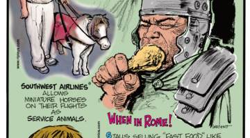 "1. Southwest Airlines allows miniature horses on their flights as service animals. 2. Stalls selling ""fast food"" like chicken legs, lamb chops, and even burgers were common in Roman camps 1,500 years ago. 3. Who nose? Harvard and the University of Saskatchewan recommend parents let their kids pick their noses to expose them to good bacteria."