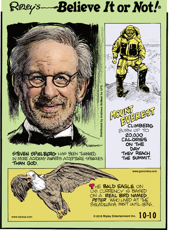 1. Steven Spielberg has been thanked in more Academy Awards acceptance speeches than God. 2. Mount Everest climbers burn up to 20,000 calories on the day they reach the summit. 3. The bald eagle on U.S. currency is based on a real bird named Peter who lived at the Philadelphia Mint until 1836.