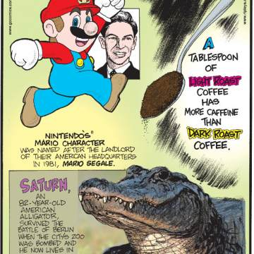 1. Nintendo's Mario character was named after the landlord of their American headquarters in 1981, Mario Segale. 2. A tablespoon of light roast coffee has more caffeine than dark roast coffee. 3. Saturn, an 82-year-old American alligator, survived the Battle of Berlin when the city's zoo was bombed and he now lives in Moscow as a war trophy.