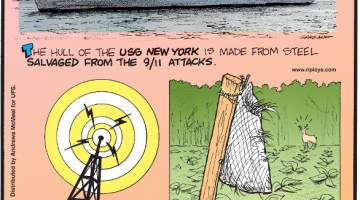 """1. The hull of the USS New York is made from steel salvaged from the 9/11 attacks. 2. Radio stations add """"comfort noise"""" to their broadcasts so their listeners don't think the broadcast has stopped during pauses. 3. Gardeners in the American Northeast sometimes hang bags of human hair in their gardens because deer dislike the scent."""