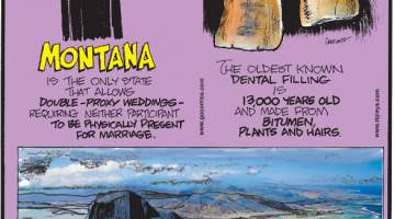 1. Montana is the only state that allows double-proxy weddings - requiring neither participant to be physically present for marriage. 2. The oldest known dental filling is 13,000 years old and made from bitumen, plants and hairs. 3. Silt deposits off the island of Mauritius create an illusion that looks like an undersea waterfall.
