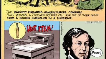 "1. The Barrett Firearms Manufacturing Company once received a customer support call for one of their guns from a soldier embroiled in a firefight. 2. The Xerox 914 copier was so prone to catching fire that the company included an extinguisher with purchase. 3. Before ""Say cheese!"" became the norm for getting people to smile, photographers told people to ""Say prunes!"""