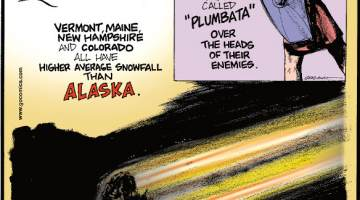 """1. Vermont, Maine, New Hampshire and Colorado all have higher average snowfall than Alaska. 2. Romans threw weaponized lawn darts called """"plumbata"""" over the heads of their enemies. 3. A person is more likely to die from a giant meteorite hitting earth than a small meteorite hitting just them."""