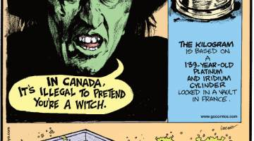 1. In Canada, it's illegal to pretend you're a witch. 2. The kilogram is based on a 139-year-old platinum and iridium cylinder locked in a vault in France. 3. The plastic trays in security lines are an airport's most germ-infested spot.