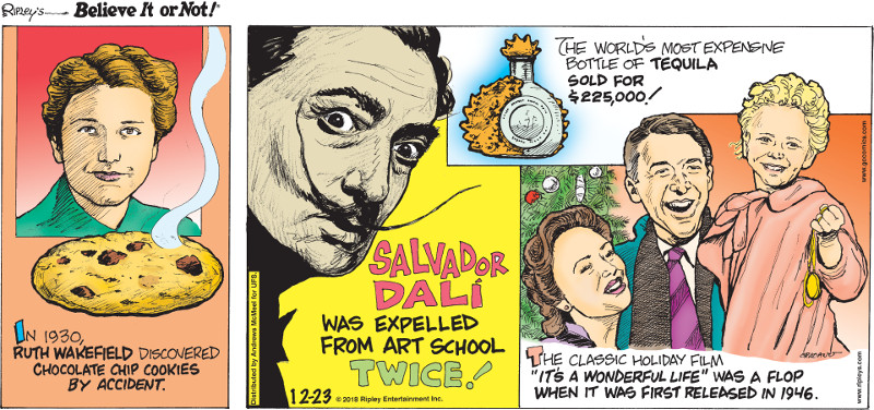 """1. In 1930, Ruth Wakefield discovered chocolate chip cookies by accident. 2. Salvador Dali was expelled from art school twice! 3. The world's most expensive bottle of tequila sold for $225,000! 4. The classic holiday film """"It's A Wonderful Life"""" was a flop when it was first released in 1946."""