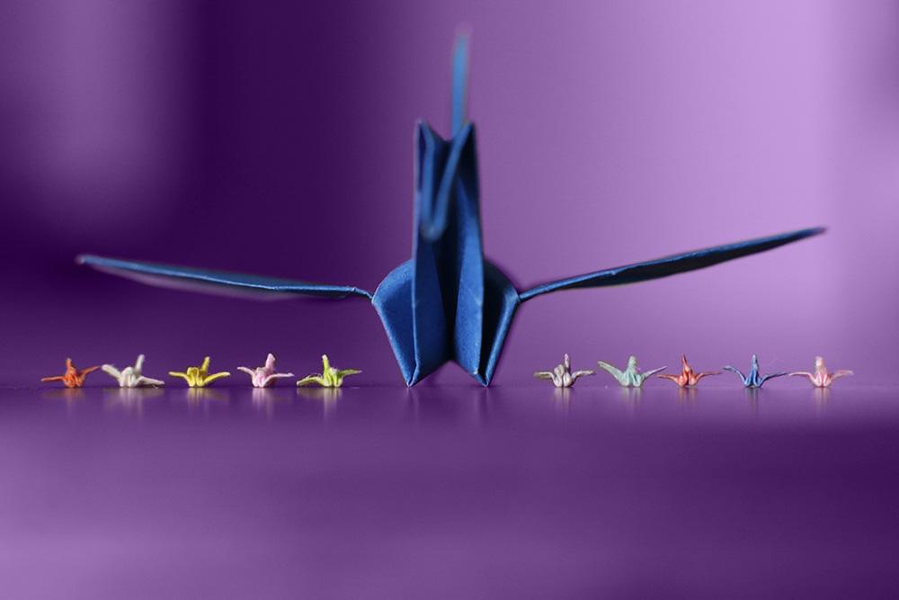 tiny paper crane