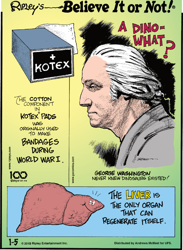 1. The cotton component in Kotex pads was originally used to make bandages during World War I. 2. George Washington never knew dinosaurs existed! 3. The liver is the only organ that can regenerate itself.