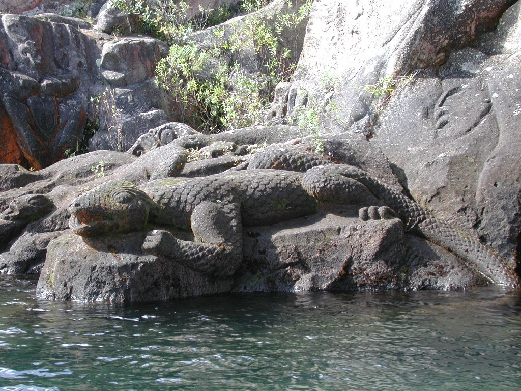 Rock carvings of taniwha.