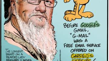 "1. The longest beard on a bearded lady measured 11 inches on Vivian Wheeler. 2. Before Google's Gmail, ""G-Mail"" was a free email service offered on Garfield's website! 3. Woodpecker tongues are more than a foot long and wrap around the bird's brain!"
