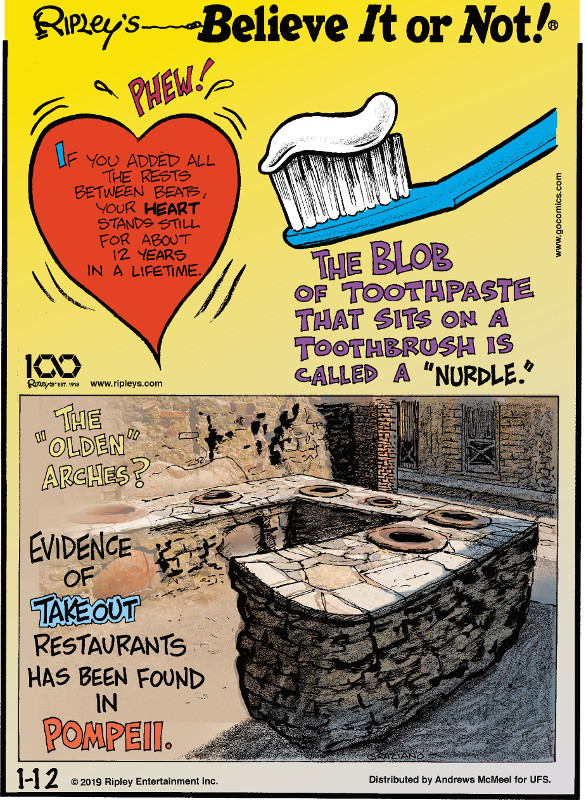 "1. If you added all the rests between beats, your heart stands still for about 12 years in a lifetime. 2. The blob of toothpaste that sits on a toothbrush is called a ""nurdle."" 3. The ""olden"" arches? Evidence of takeout restaurants has been found in Pompeii."