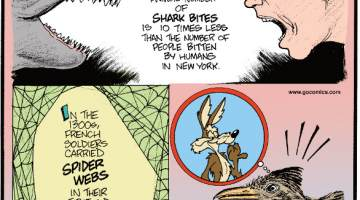 1. Yikes! The worldwide annual number of shark bites is 10 times less than the number of people bitten by humans in New York. 2. In the 1300s, French soldiers carried spider webs in their first-aid kits to pack into wounds and stop bleeding. 3. Coyotes outpace roadrunners by 23 mph!