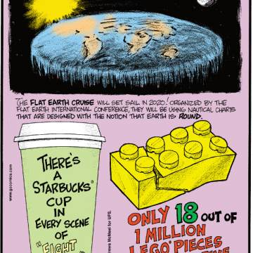 """1. The Flat Earth Cruise will set sail in 2020! Organized by the Flat Earth International Conference, they will be using nautical charts that are designed with the notion that Earth is round. 2. There's a Starbucks® cup in every scene of """"Fight Club."""" 3. Only 18 out of 1 million Lego® pieces are defective."""