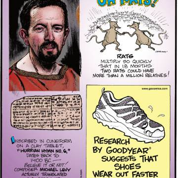 """1. Rats multiply so quickly that in 18 months two rats could have more than a million relatives! 2. Inscribed in cuneiform on a clay tablet, """"Hurrian Hymn No. 6,"""" dates back to 1,400 B.C. - Believe It or Not! composer Michael Levy actually translated and performed the ancient song! 3. Research by Goodyear® suggests that shoes wear out faster on the right foot."""
