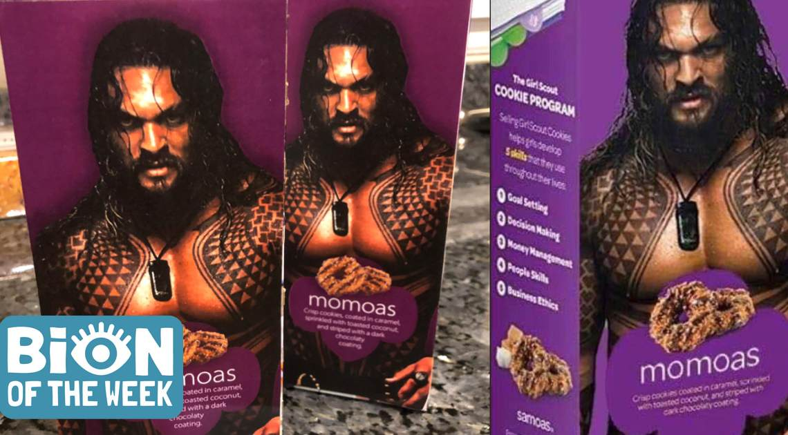 Girl Scout Includes Shirtless Jason Momoa To Sell Her Samoas Cookies