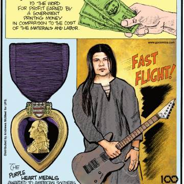 "1. ""Seigniorage"" is the word for profit earned by a government printing money in comparison to the cost of the materials and labor. 2. The Purple Heart Medals awarded to American soldiers in Iraq and Afghanistan were originally manufactured in preparation of a bloody invasion of Japan in 1945. 3. Guitarist Tiago Della Vega can play ""Flight of the Bumblebee"" at 320 beats per minute!"