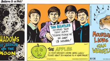 """1. Shadows are darker on the moon. 2. The Beatles recorded their first album """"Please Please Me"""" in just 13 hours! 3. The apples in your grocery store were likely picked about six months to a year prior! 4. Mountain lions can whistle!"""
