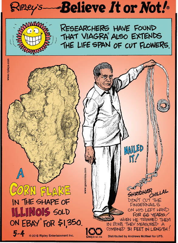 1. Researchers have found that Viagra® also extends the lifespan of cut flowers. 2. A corn flake in the shape of Illinois sold on eBay® for $1,350. 3. Shridhar Chillal didn't cut the fingernails on his left hand for 66 years! When he trimmed them in 2018, they measured a combined 31 feet in length!