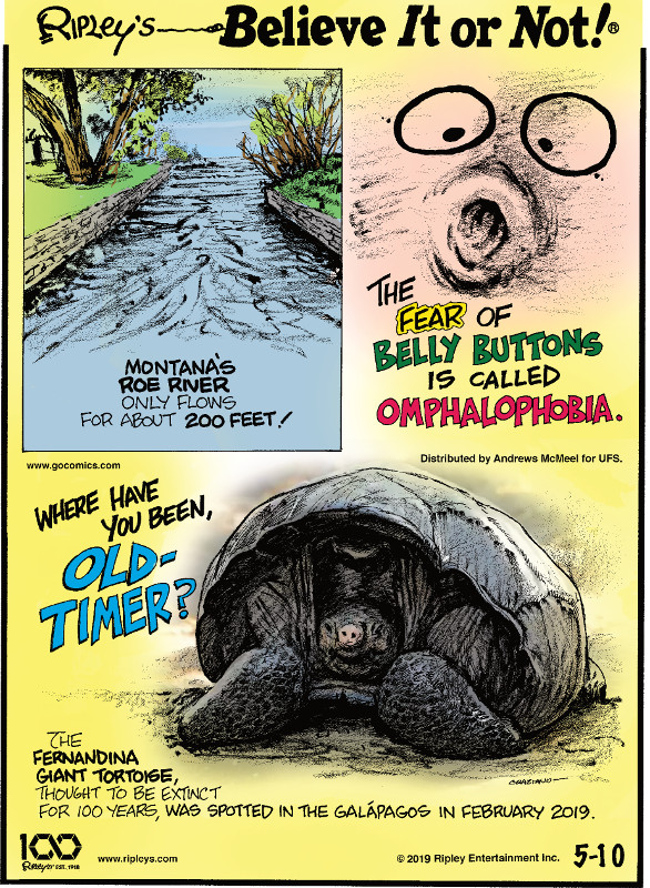 1. Montana's Roe River only flows for about 200 feet! 2. The fear of belly buttons is called omphalophobia. 3. The Fernandina Giant Tortoise, thought to be extinct for 100 years, was spotted in the Galapagos in February 2019.