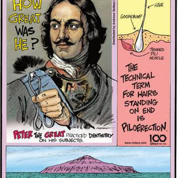 1. Peter the Great practiced dentistry on his subjects. 2. The technical term for hairs standing on end is piloerection. 3. The most isolated inhabited island in the world, Tristan da Cunha, was granted a postal code in 2005, but its residents see a mail ship only once a year!