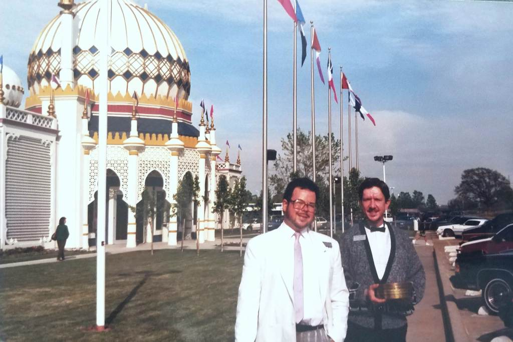 Drew and Charles on opening day of the Palace of Wax -- April 1990.