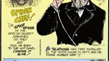"""1. The spoor spider of the African desert ambushes its prey and pins its body to the hot sand, cooking it alive! 2. A telephone was first installed in The White House in 1877, and its phone number was """"1."""" 3. The predecessor to the trombone was called the sackbut."""